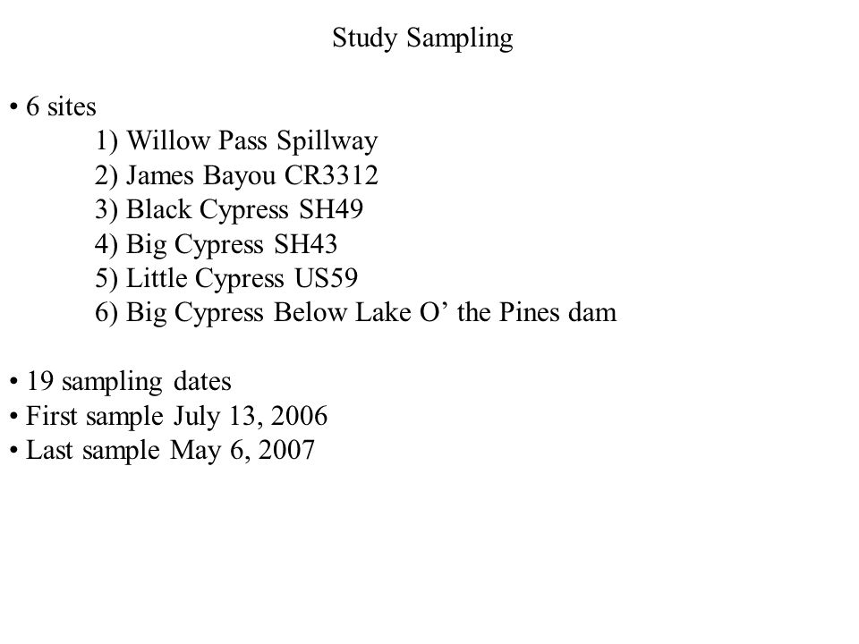 Study Sampling 6 sites 1) Willow Pass Spillway 2) James Bayou CR3312 3) Black Cypress SH49 4) Big Cypress SH43 5) Little Cypress US59 6) Big Cypress Below Lake O the Pines dam 19 sampling dates First sample July 13, 2006 Last sample May 6, 2007