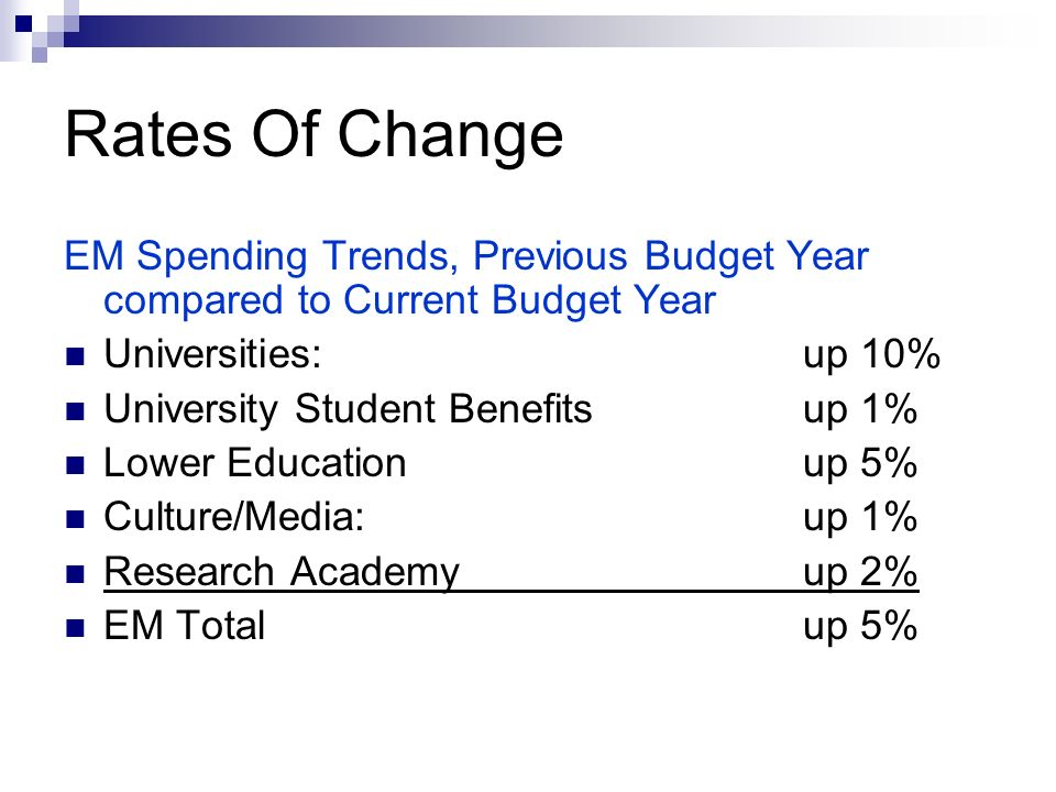 Rates Of Change EM Spending Trends, Previous Budget Year compared to Current Budget Year Universities: up 10% University Student Benefits up 1% Lower