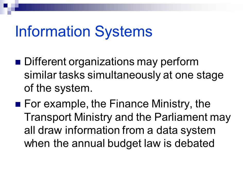 Information Systems Different organizations may perform similar tasks simultaneously at one stage of the system. For example, the Finance Ministry, th
