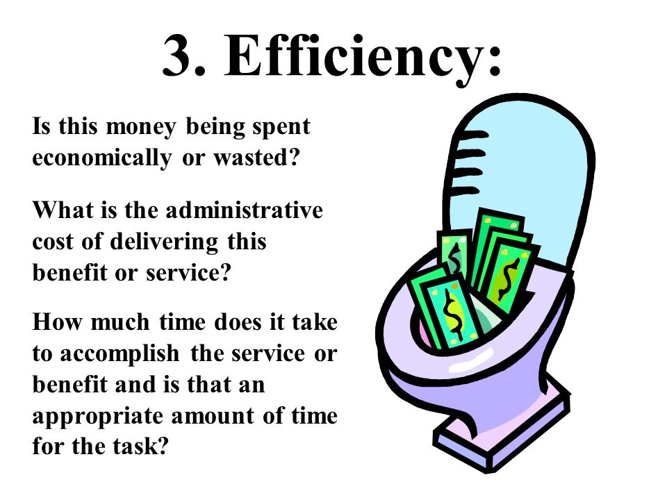 3. Efficiency: Is this money being spent economically or wasted? What is the administrative cost of delivering this benefit or service? How much time