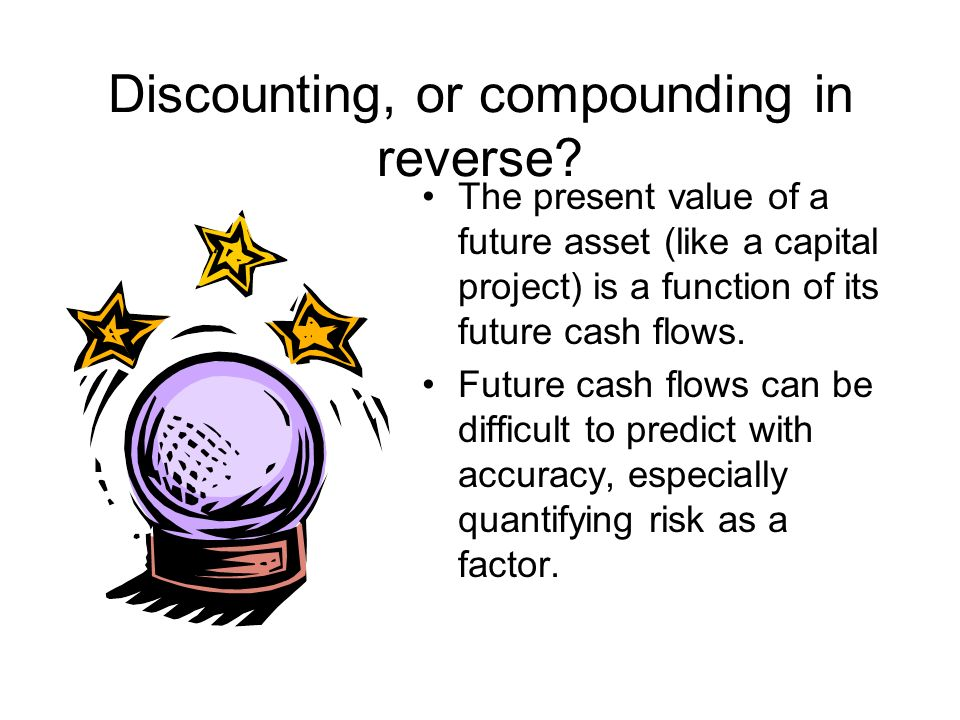 Discounting, or compounding in reverse? The present value of a future asset (like a capital project) is a function of its future cash flows. Future ca