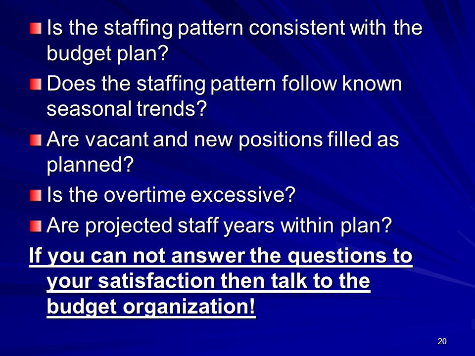20 Is the staffing pattern consistent with the budget plan.
