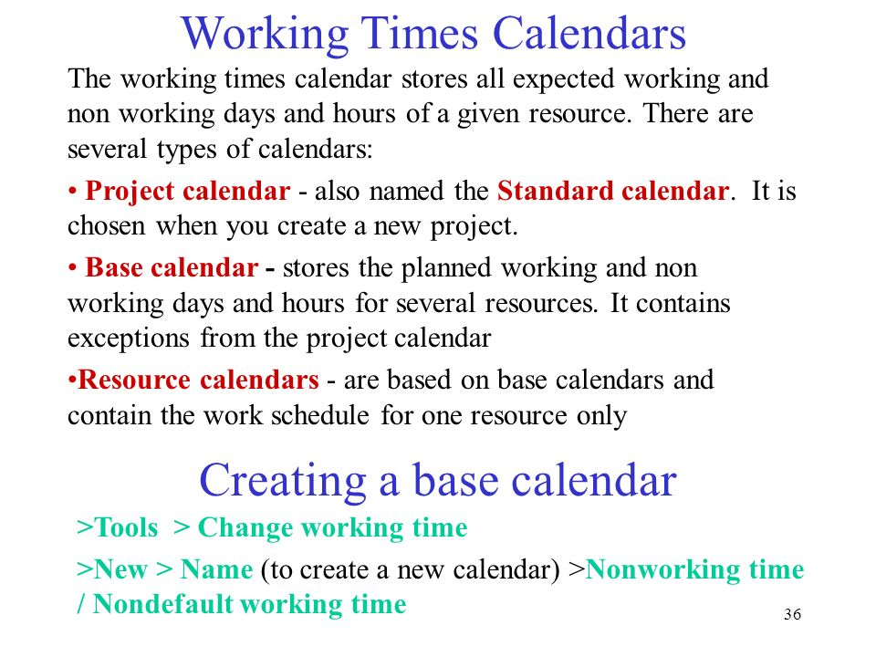 36 Working Times Calendars The working times calendar stores all expected working and non working days and hours of a given resource. There are severa