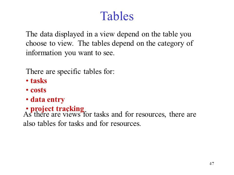 47 The data displayed in a view depend on the table you choose to view. The tables depend on the category of information you want to see. There are sp