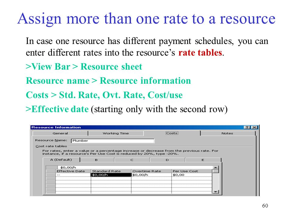 60 Assign more than one rate to a resource In case one resource has different payment schedules, you can enter different rates into the resources rate