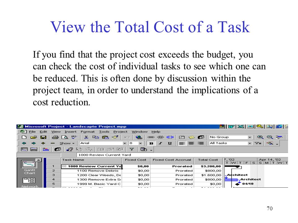 70 View the Total Cost of a Task If you find that the project cost exceeds the budget, you can check the cost of individual tasks to see which one can