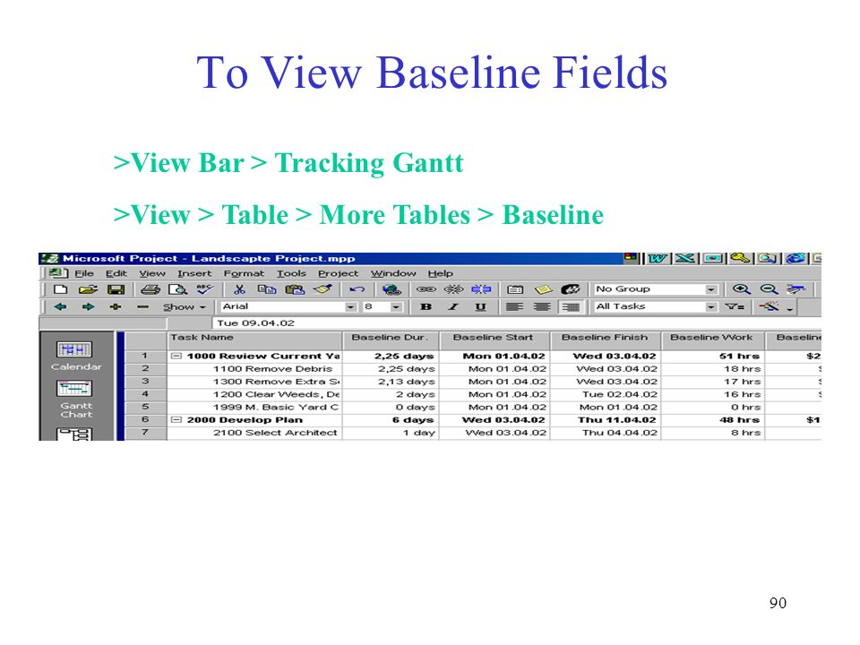 90 To View Baseline Fields >View Bar > Tracking Gantt >View > Table > More Tables > Baseline