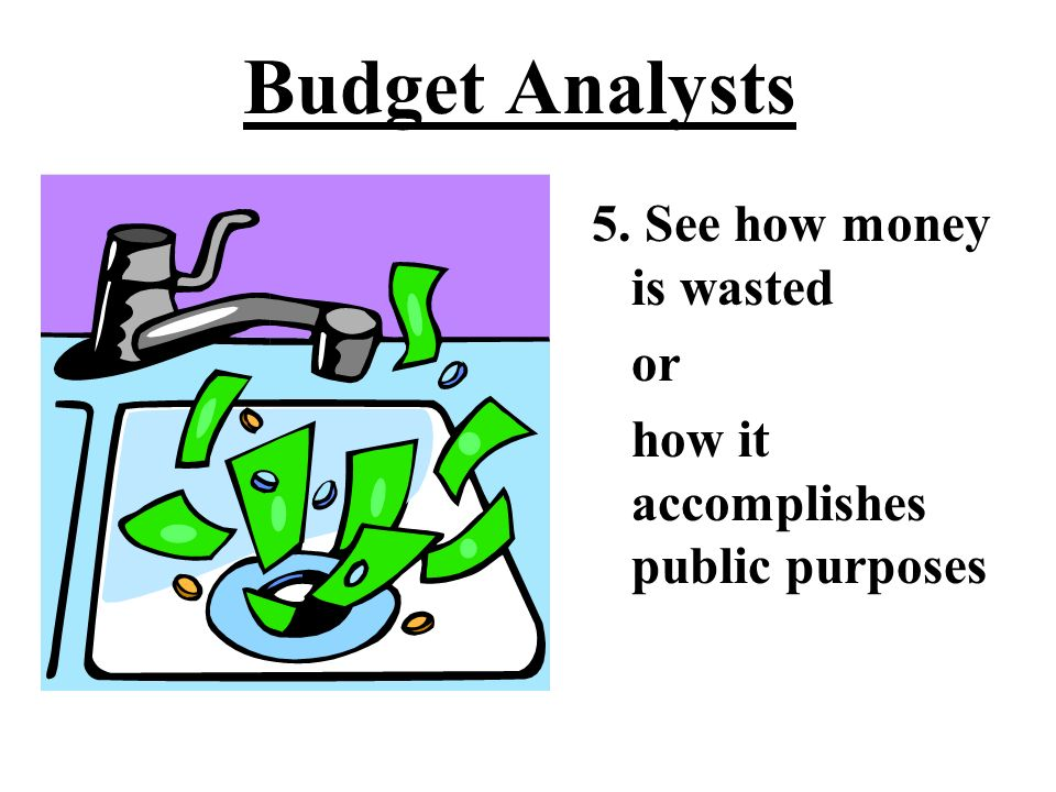 Budget Analysts 4. Learn what the money buys Is it worth it? Is it the right thing to buy?