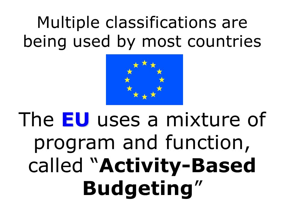 Multiple classifications are being used by most countries EU The EU uses a mixture of program and function, called Activity-Based Budgeting