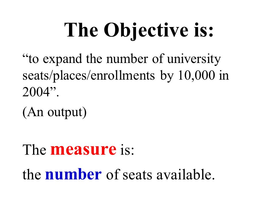 The Objective is: to expand the number of university seats/places/enrollments by 10,000 in 2004. (An output) The measure is: the number of seats avail