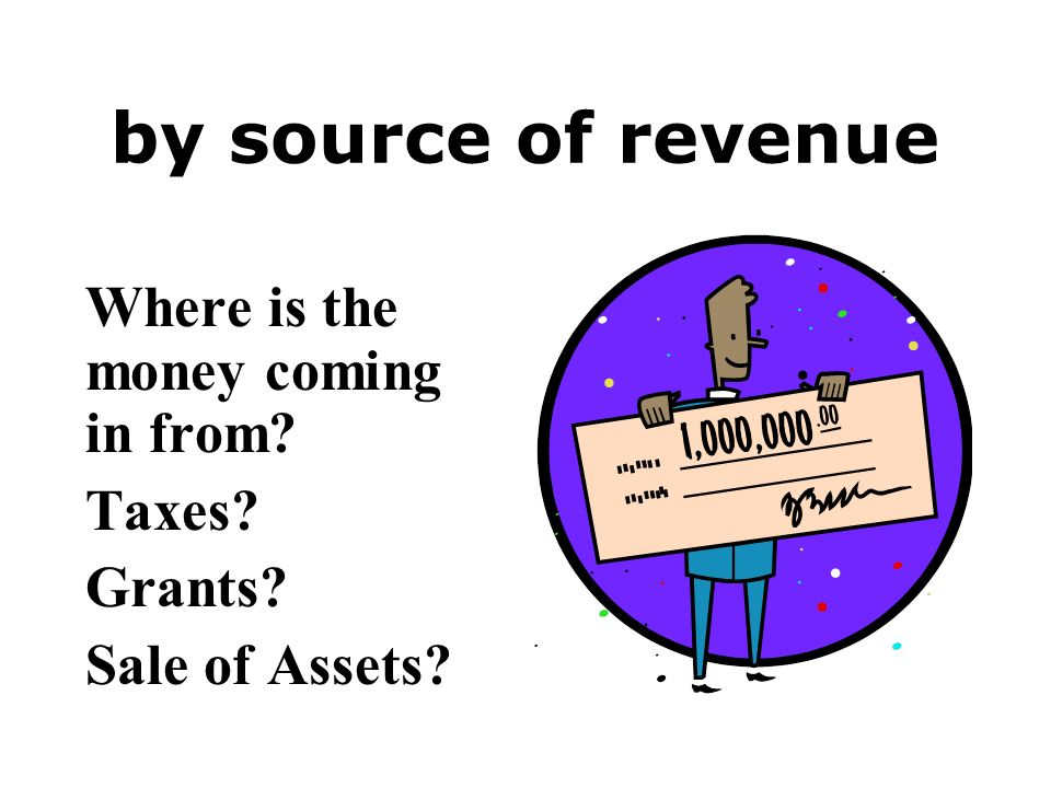 by source of revenue Where is the money coming in from? Taxes? Grants? Sale of Assets?