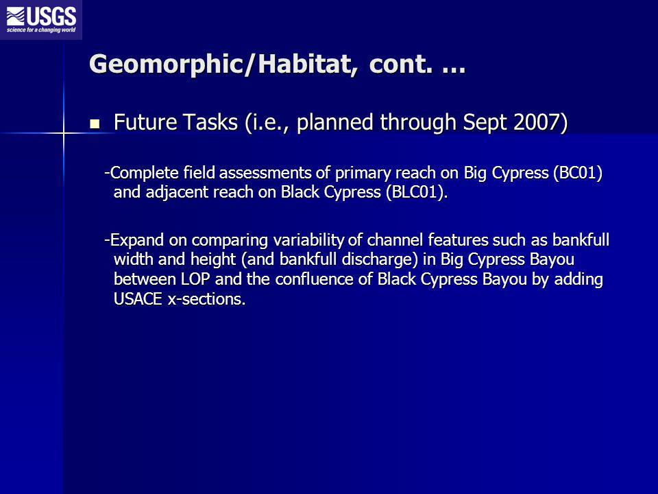 Future Tasks (i.e., planned through Sept 2007) Future Tasks (i.e., planned through Sept 2007) -Complete field assessments of primary reach on Big Cypr