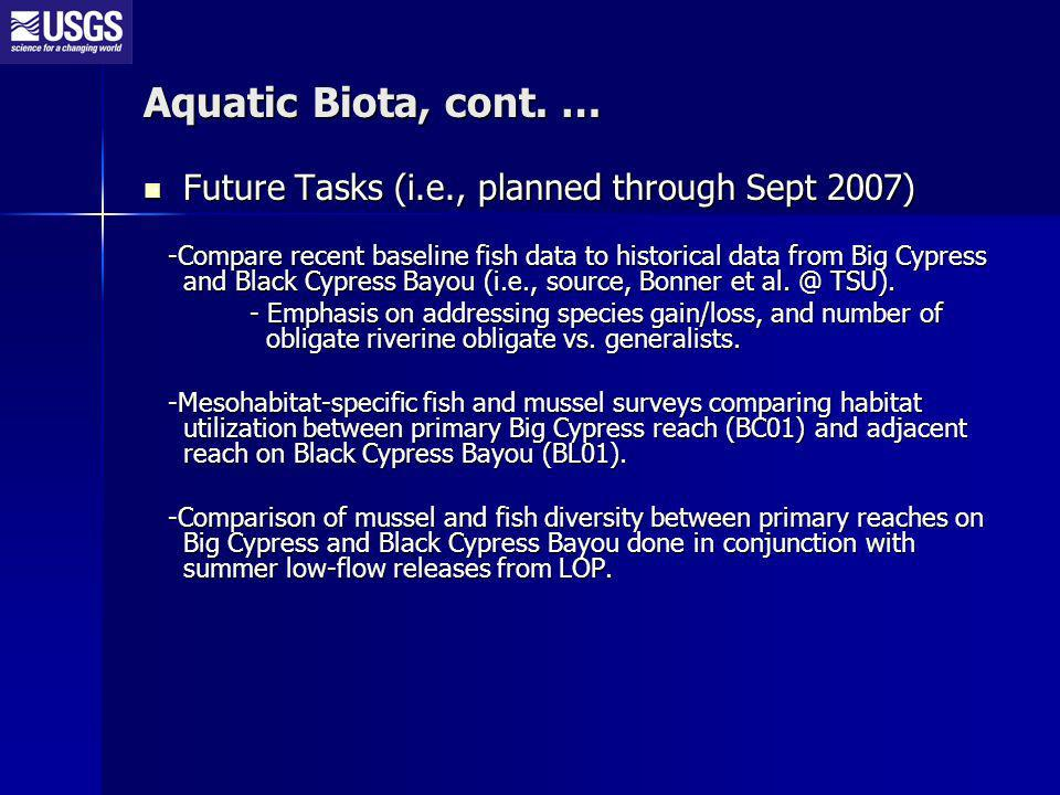Future Tasks (i.e., planned through Sept 2007) Future Tasks (i.e., planned through Sept 2007) -Compare recent baseline fish data to historical data from Big Cypress and Black Cypress Bayou (i.e., source, Bonner et al.