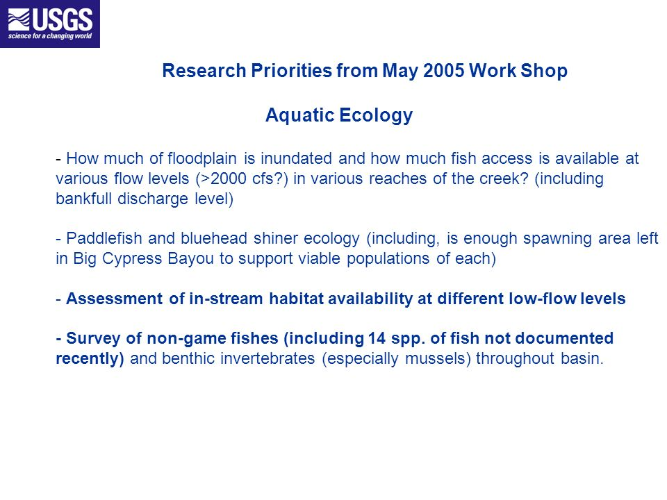 Research Priorities from May 2005 Work Shop Aquatic Ecology - How much of floodplain is inundated and how much fish access is available at various flow levels (>2000 cfs ) in various reaches of the creek.