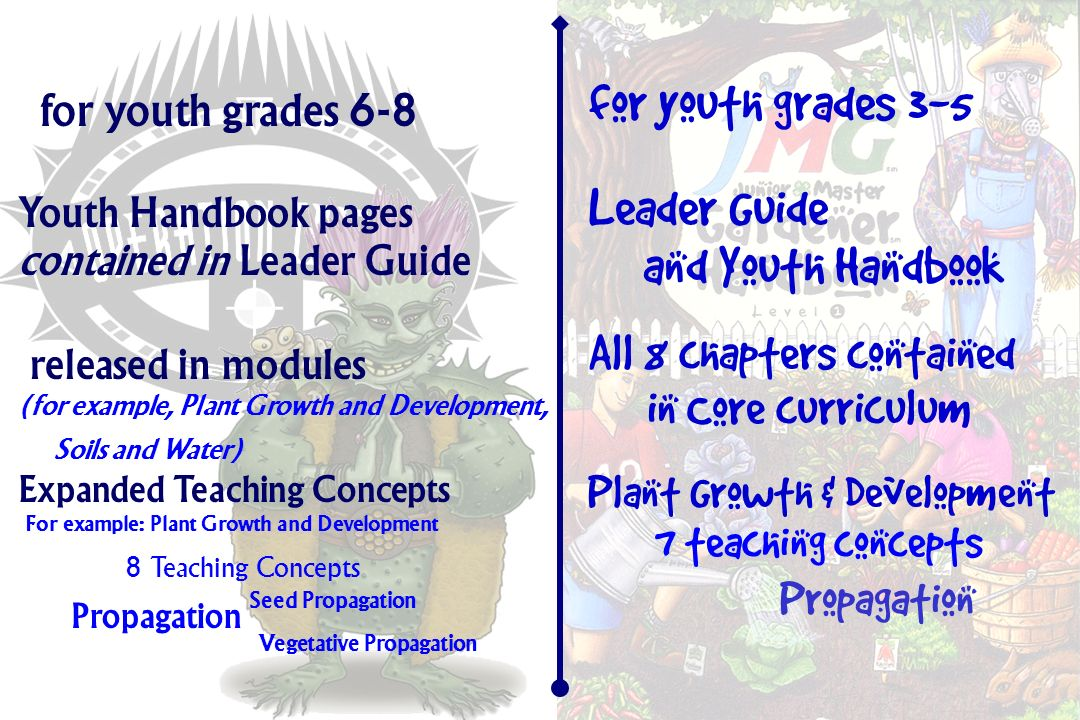 for youth grades 6-8 for youth grades 3-5 Youth Handbook pages contained in Leader Guide Leader Guide and Youth Handbook released in modules (for example, Plant Growth and Development, Soils and Water) All 8 chapters contained in Core curriculum Expanded Teaching Concepts For example: Plant Growth and Development 8 Teaching Concepts Propagation Seed Propagation Vegetative Propagation Plant Growth & Development 7 teaching concepts Propagation