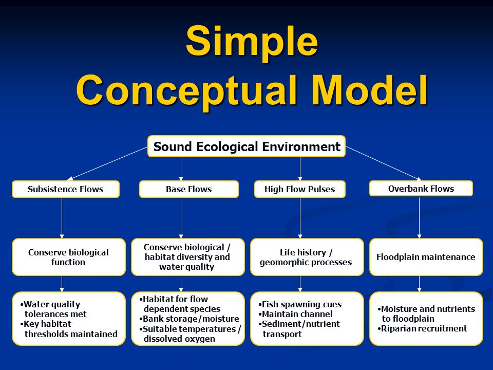 Simple Conceptual Model Base FlowsSubsistence Flows Overbank Flows High Flow Pulses Conserve biological function Conserve biological / habitat diversi