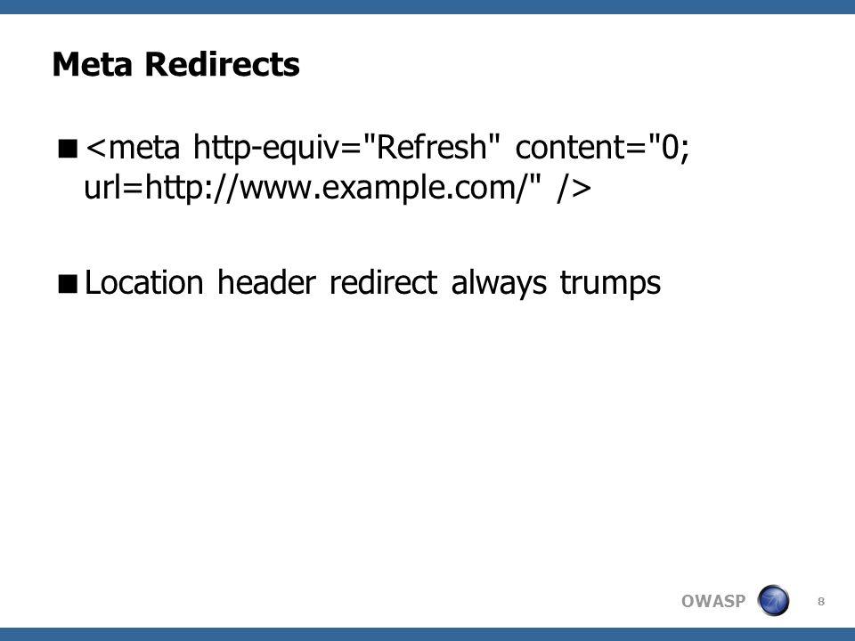 OWASP 8 Meta Redirects Location header redirect always trumps