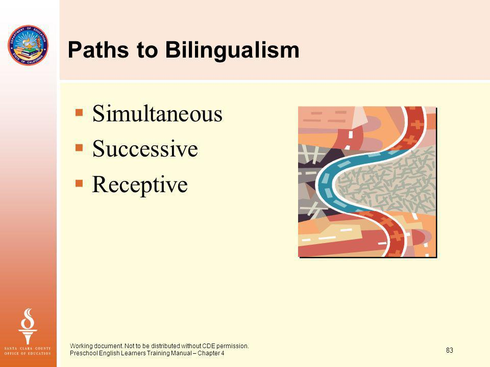 83 Working document. Not to be distributed without CDE permission. Preschool English Learners Training Manual – Chapter 4 Paths to Bilingualism Simult