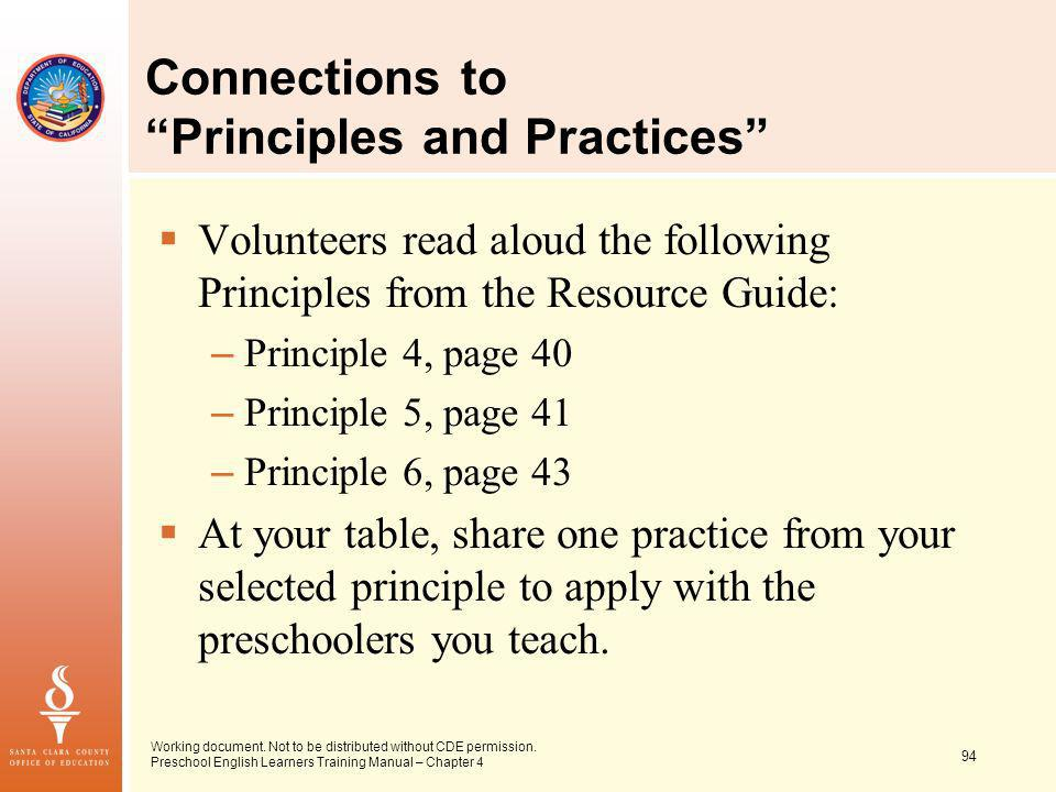 94 Working document. Not to be distributed without CDE permission. Preschool English Learners Training Manual – Chapter 4 Connections to Principles an