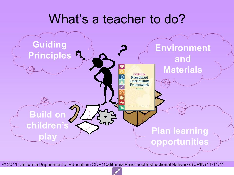 Whats a teacher to do? Environment and Materials Guiding Principles Build on childrens play Plan learning opportunities