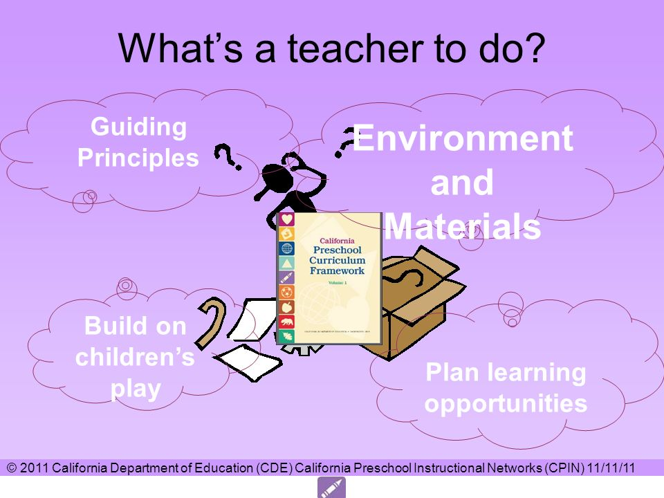 Whats a teacher to do? Guiding Principles Build on childrens play Environment and Materials Plan learning opportunities