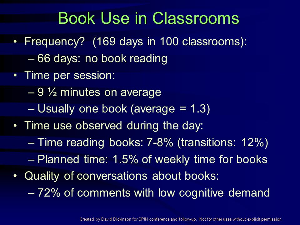 Created by David Dickinson for CPIN conference and follow-up. Not for other uses without explicit permission. Book Use in Classrooms Frequency? (169 d
