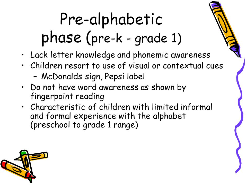 Pre-alphabetic phase ( pre-k - grade 1) Lack letter knowledge and phonemic awareness Children resort to use of visual or contextual cues –McDonalds si