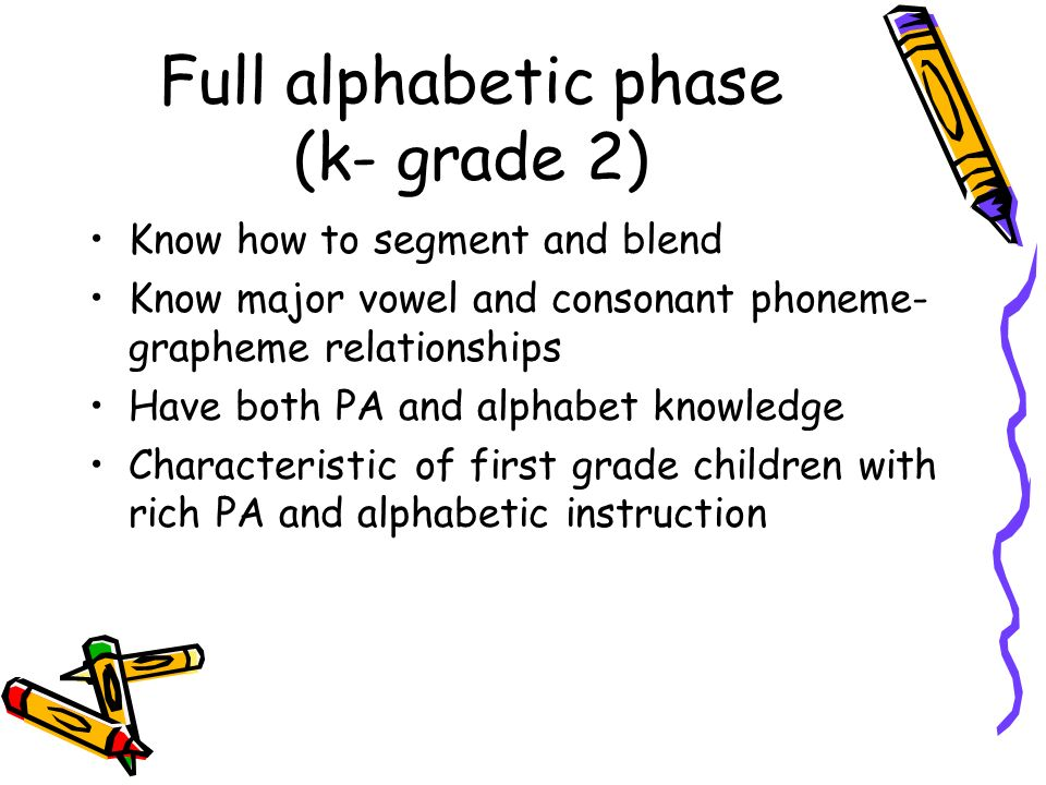Full alphabetic phase (k- grade 2) Know how to segment and blend Know major vowel and consonant phoneme- grapheme relationships Have both PA and alpha