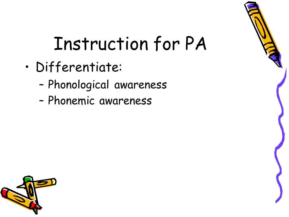 Instruction for PA Differentiate: –Phonological awareness –Phonemic awareness