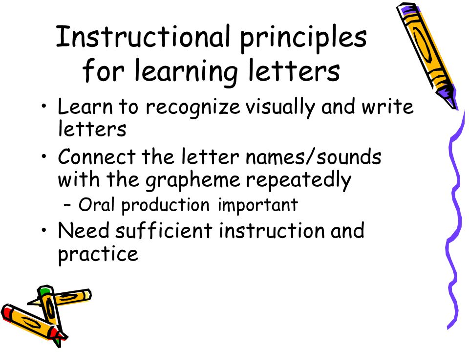 Instructional principles for learning letters Learn to recognize visually and write letters Connect the letter names/sounds with the grapheme repeated