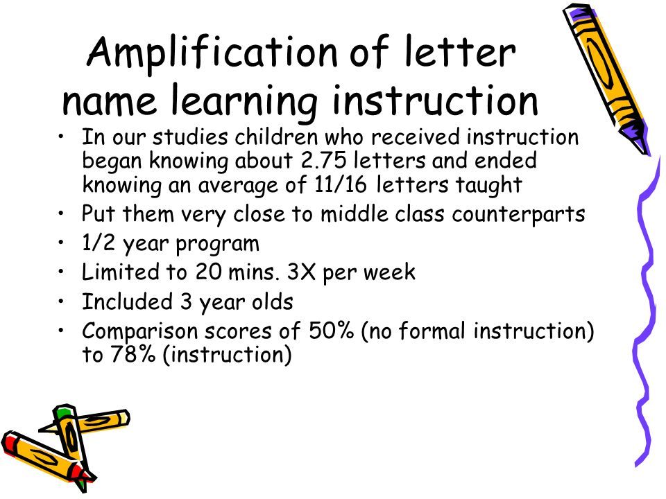 Amplification of letter name learning instruction In our studies children who received instruction began knowing about 2.75 letters and ended knowing