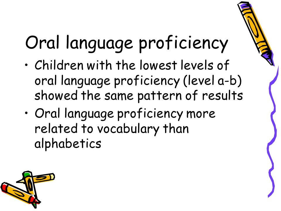 Oral language proficiency Children with the lowest levels of oral language proficiency (level a-b) showed the same pattern of results Oral language pr