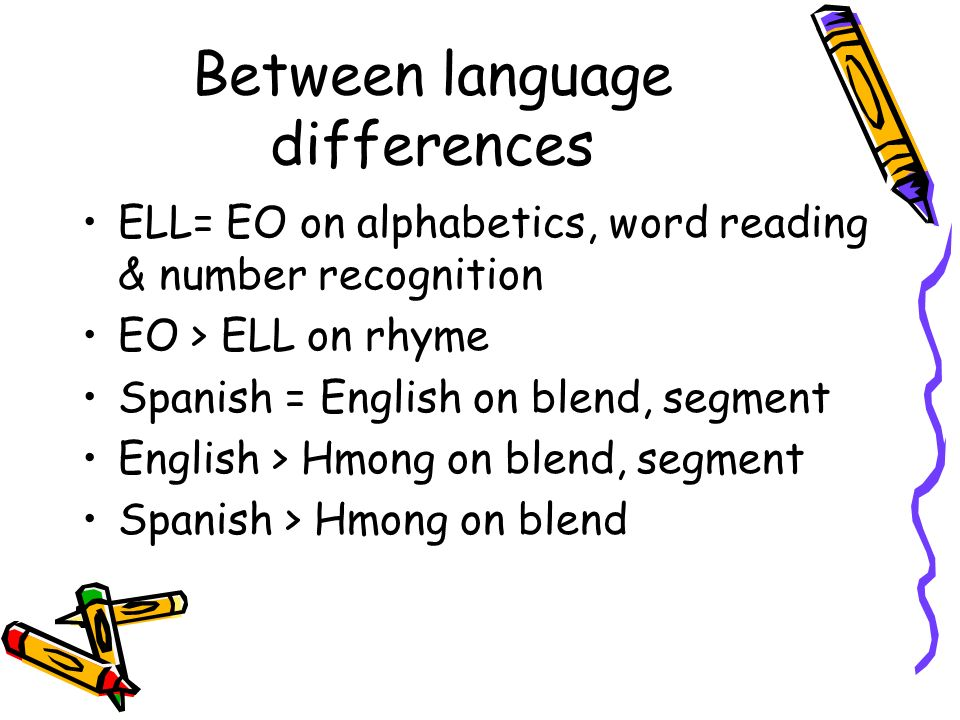 Between language differences ELL= EO on alphabetics, word reading & number recognition EO > ELL on rhyme Spanish = English on blend, segment English >
