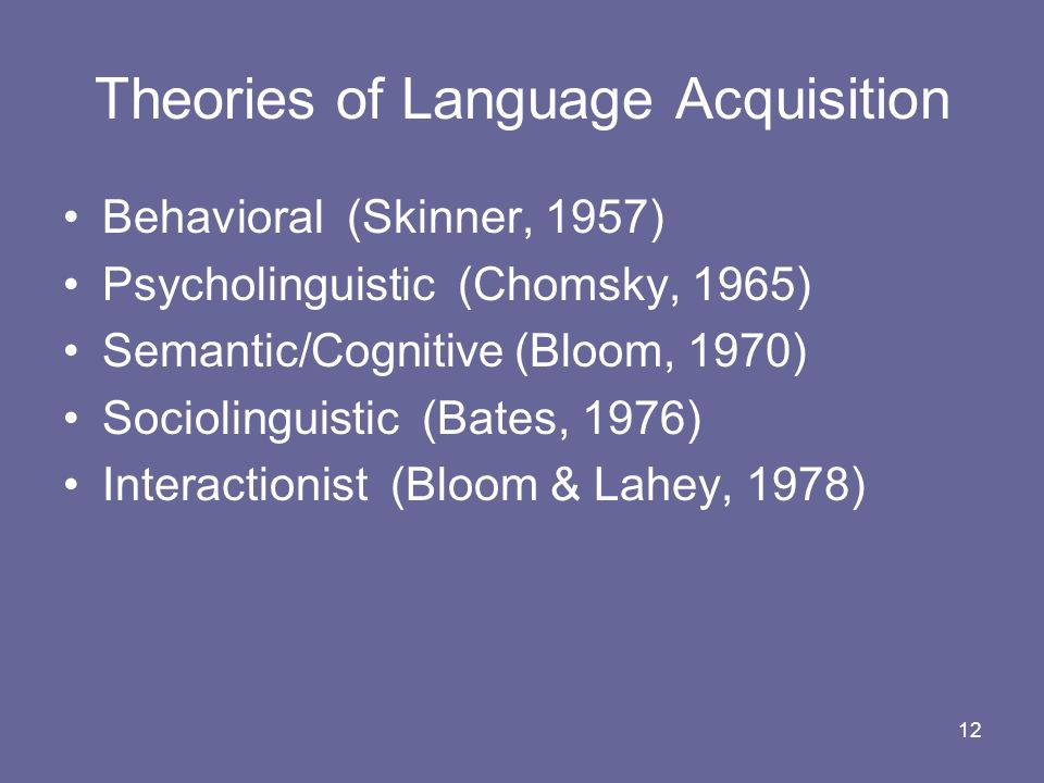 12 Theories of Language Acquisition Behavioral (Skinner, 1957) Psycholinguistic (Chomsky, 1965) Semantic/Cognitive (Bloom, 1970) Sociolinguistic (Bate