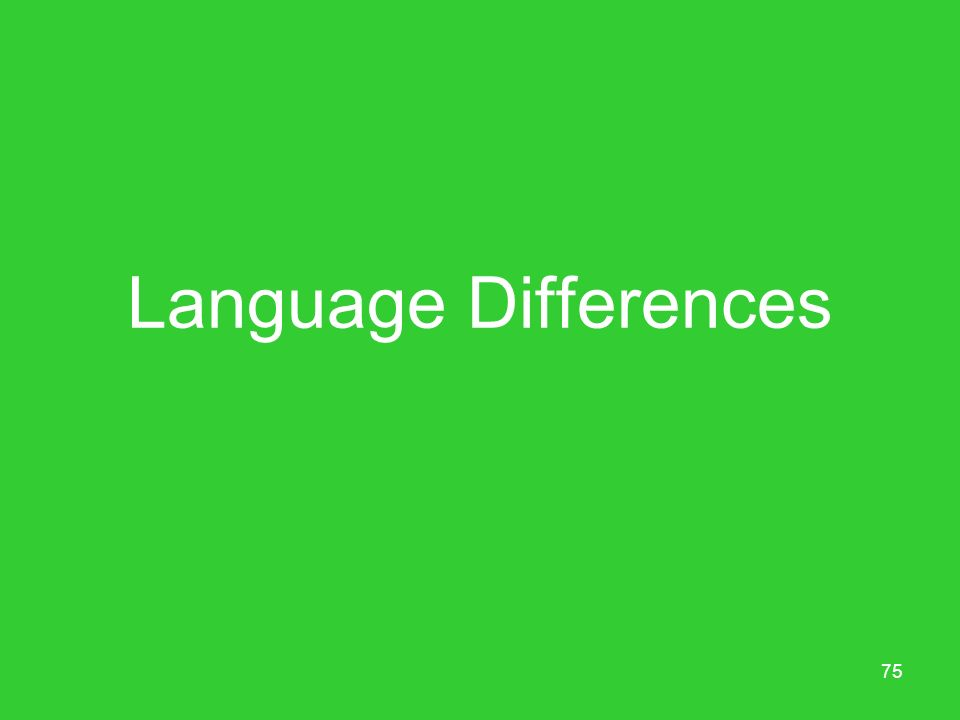 75 Language Differences