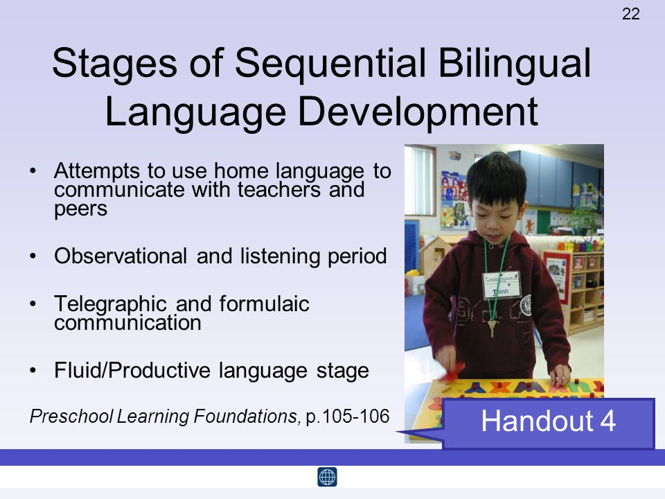 22 Stages of Sequential Bilingual Language Development Attempts to use home language to communicate with teachers and peers Observational and listenin