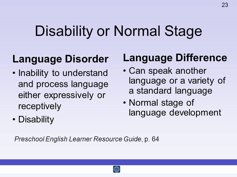 23 Disability or Normal Stage Language Disorder Inability to understand and process language either expressively or receptively Disability Language Di
