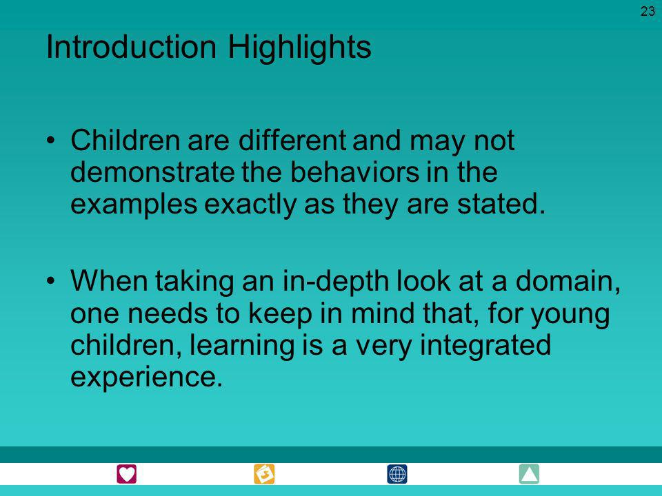 23 Children are different and may not demonstrate the behaviors in the examples exactly as they are stated. When taking an in-depth look at a domain,
