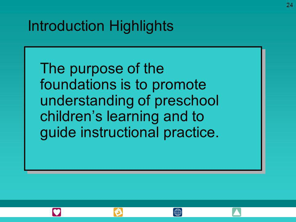 24 The purpose of the foundations is to promote understanding of preschool childrens learning and to guide instructional practice. Introduction Highli
