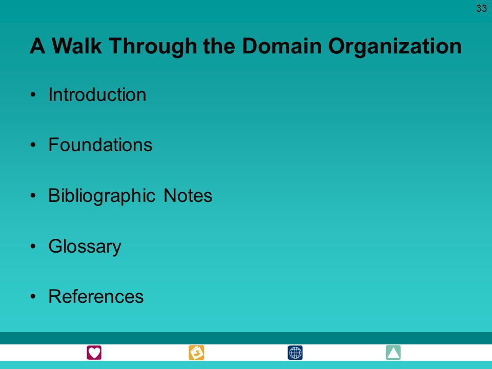 33 A Walk Through the Domain Organization Introduction Foundations Bibliographic Notes Glossary References