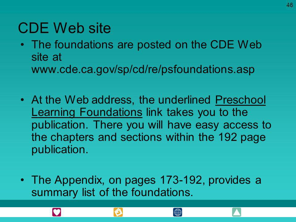 46 CDE Web site The foundations are posted on the CDE Web site at www.cde.ca.gov/sp/cd/re/psfoundations.asp At the Web address, the underlined Prescho