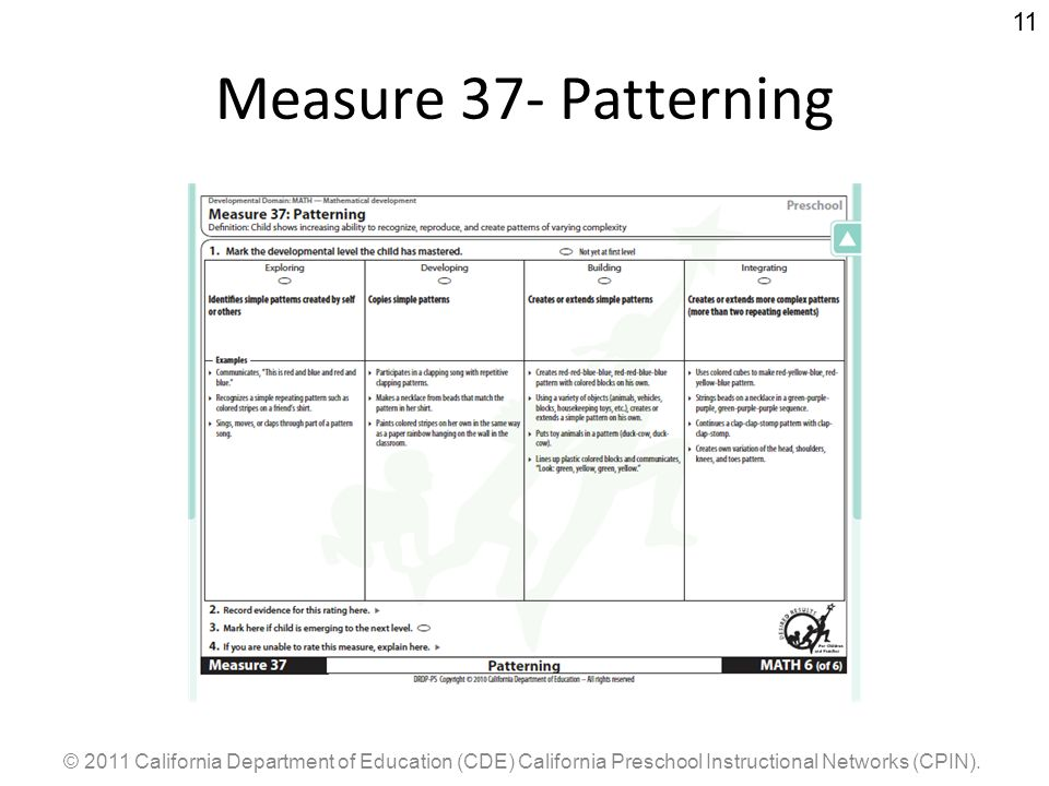 © 2011 California Department of Education (CDE) California Preschool Instructional Networks (CPIN). 11 Measure 37- Patterning