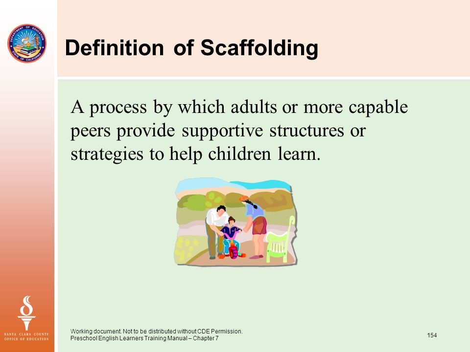 Working document. Not to be distributed without CDE Permission. Preschool English Learners Training Manual – Chapter 7 154 Definition of Scaffolding A