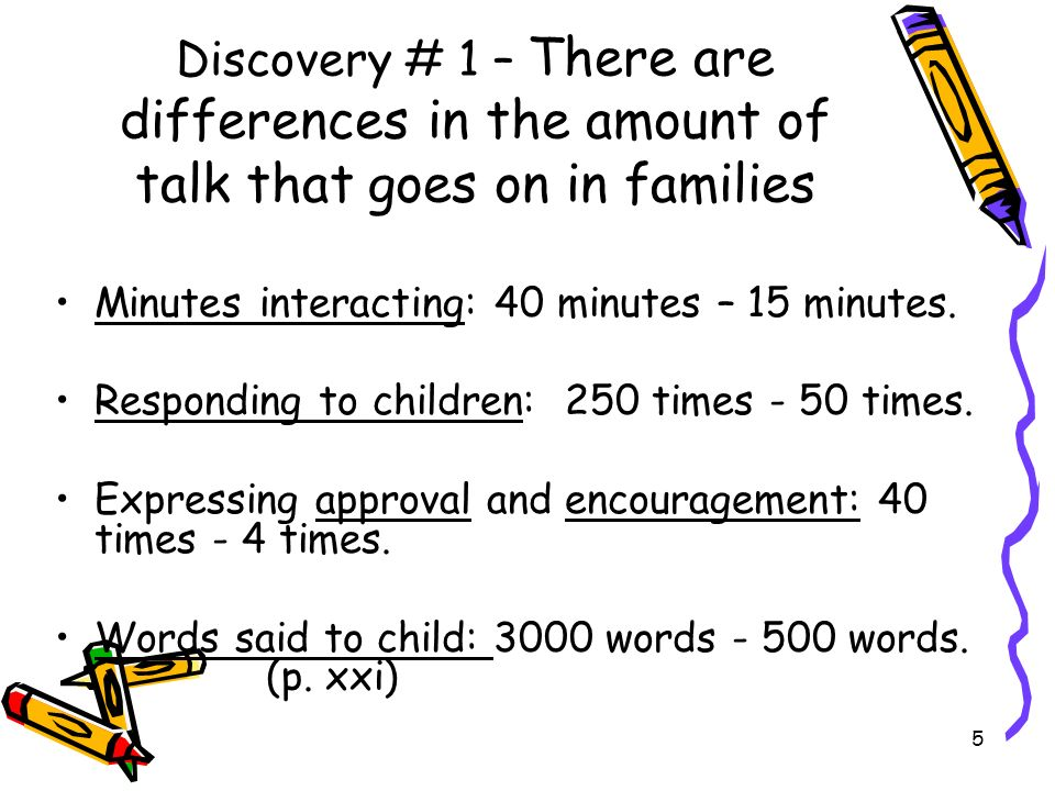 5 Discovery # 1 – There are differences in the amount of talk that goes on in families Minutes interacting: 40 minutes – 15 minutes. Responding to chi