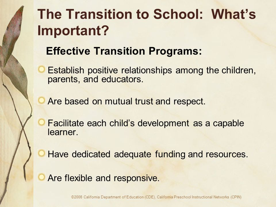 ©2008 California Department of Education (CDE), California Preschool Instructional Networks (CPIN) The Transition to School: Whats Important.