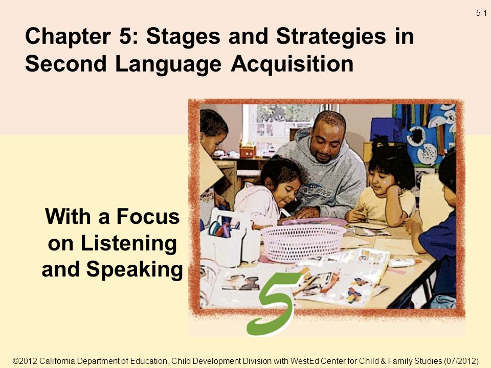 5-1 Chapter 5: Stages and Strategies in Second Language Acquisition With a Focus on Listening and Speaking ©2012 California Department of Education, Child Development Division with WestEd Center for Child & Family Studies (07/2012)