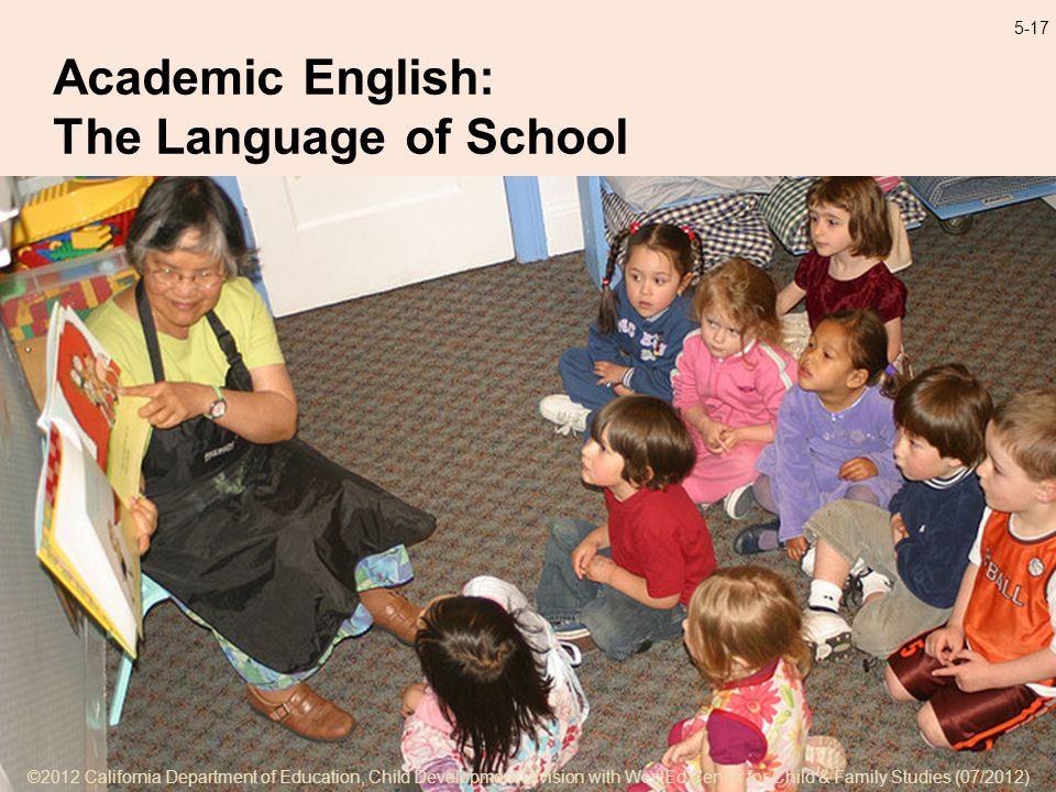 ©2012 California Department of Education, Child Development Division with WestEd Center for Child & Family Studies (07/2012) 5-17 Academic English: The Language of School ©2012 California Department of Education, Child Development Division with WestEd Center for Child & Family Studies (07/2012)