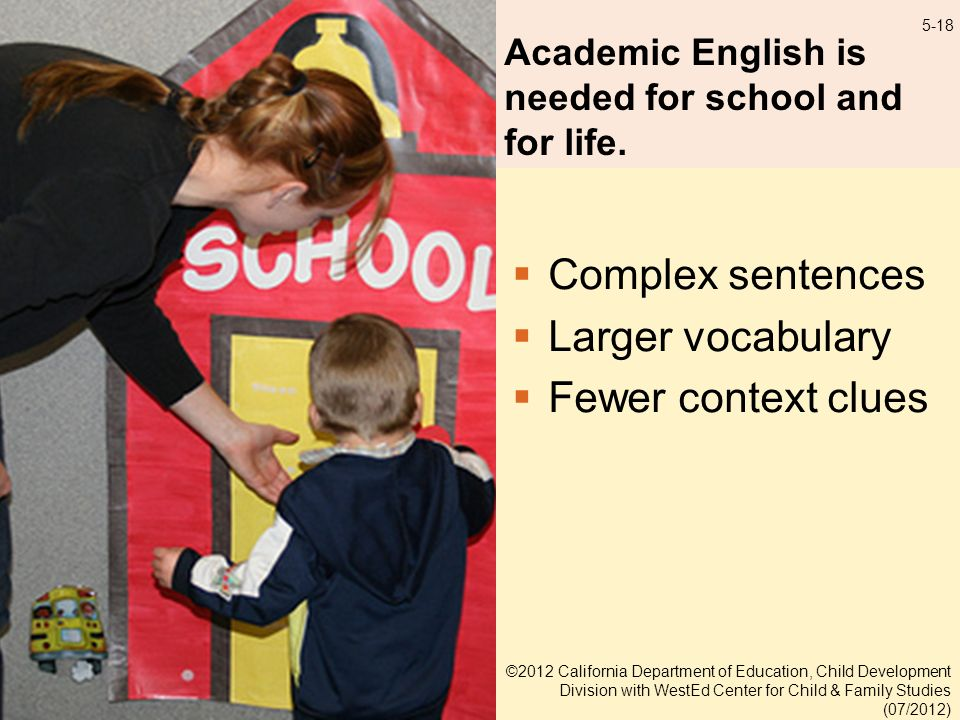 5-18 Academic English is needed for school and for life.