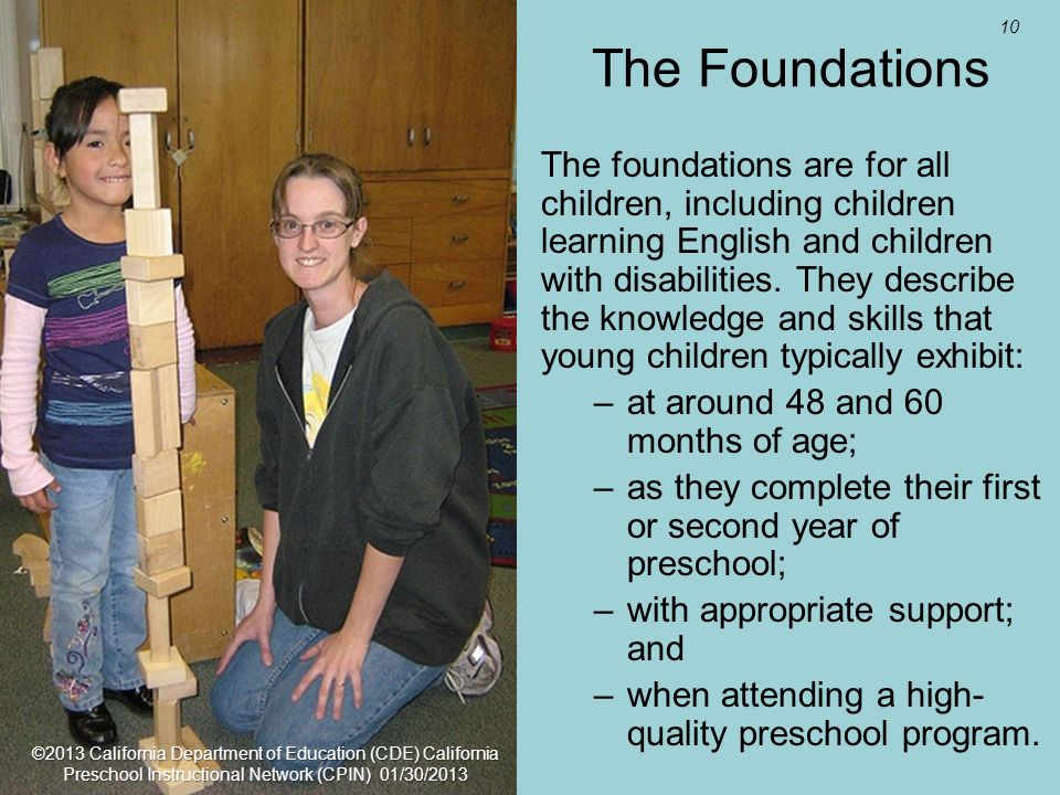 10 The Foundations The foundations are for all children, including children learning English and children with disabilities. They describe the knowled