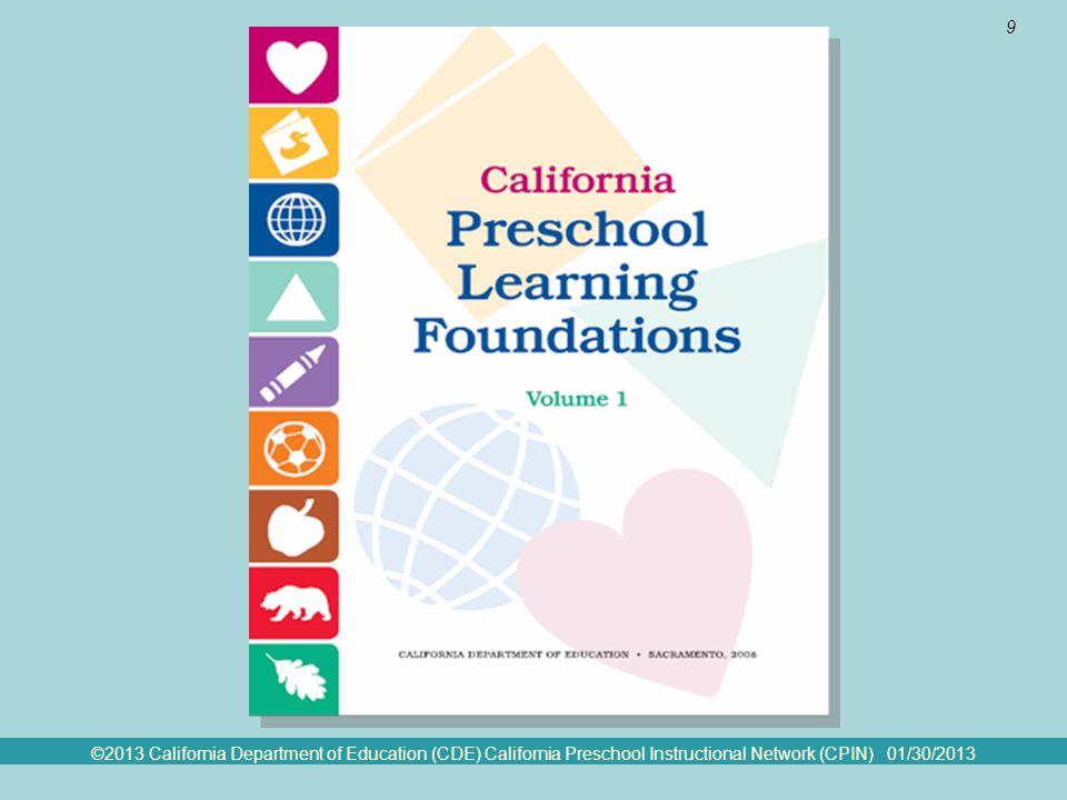 ©2013 California Department of Education (CDE) California Preschool Instructional Network (CPIN) 01/30/2013 9 The Preschool Foundations
